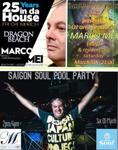 Getting ready for the massive week end in Vietnam ! U can catch me playing tonight in Mui Ne for my 25 YEARS IN DA HOUSE at Dragon Beach . Tomorrow in Ho Chi Minh for the crew of Saigon Pool Party ( from 2pm to 4pm) before heading in Phu Quoc for my very first time in the island playing for the Electric Ballroom at Happy Buddha ! See you somewhere in the dance floor if U can :)y