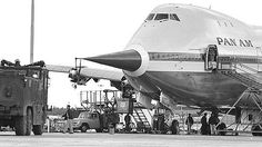 By 747_queen_of_the_skies on Instagram: Did you know in 1969 when the 747 test program was in full swing they had five test planes each with different flight perimeters to test? This is RA003 with the nose boom installed to test loads testing