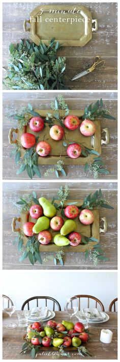 A 5 minute fall centerpiece tutorial - a colorful & edible centerpiece with a long shelf life by ashleyw Fall Table, Thanksgiving Table, Thanksgiving Decorations, Seasonal Decor, Fall Decorations, Apple Centerpieces, Centerpiece Ideas, Eucalyptus Centerpiece, Holiday Fun