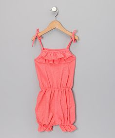 Take a look at this Coral Ruffle Romper - Toddler & Girls by Lele for Kids on #zulily today!