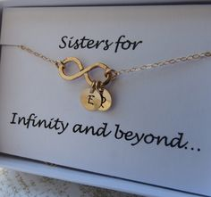 Sister+Necklace+&+Card+SET+Sister+Infinity+JewelryGold+by+lizix26,+$32.50 The twinnies and me!!