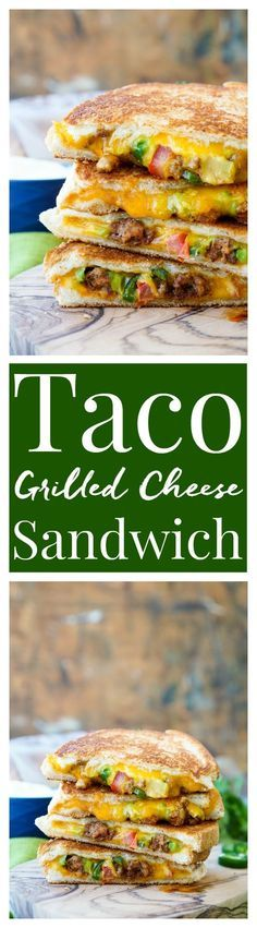 This Taco Grilled Cheese Sandwich can be customized just like a taco! The original recipe is packed with bold flavor and a little heat for a lunch or dinner that's sure to leave your mouth watering! (Sandwich Recipes Ideas)