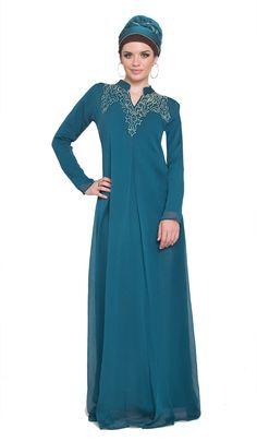Yasmeen Teal Embroidered Long Iridescent Abaya Dress with Hijab | abayas, kaftans, maxi dresses and long sleeve dresses for women | Islamic Dresses at Artizara.com