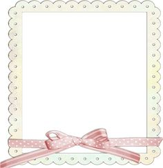 Cream Transparent Frame with Pink Ribbon