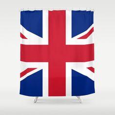 UK Flag Union Jack Shower Curtain by flagsoftheworld Uk Flag, Flags Of The World, Bathroom Shower Curtains, Veterans Day, Union Jack, Electric Blue, Navy And White, Hooks, Fresh