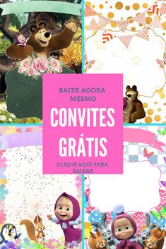 Convite masha e o urso para baixar grátis Masha And The Bear, Frozen Party, Minnie, Christmas Ornaments, Holiday Decor, Poster, Invitation Ideas, Invitation Birthday, Birthday Party Ideas