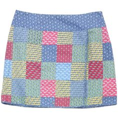 Pre-owned Vineyard Vines Blue Fish Print Cotton Faux Wrap Skirt ($53) ❤ liked on Polyvore