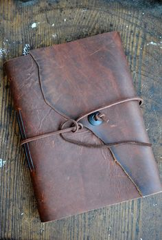 Rich Burnished Leather Photo Album Diary by MgDesignSecondWind