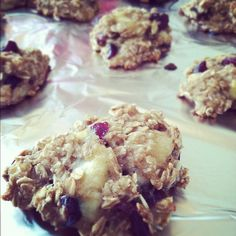 no flour, no sugar, and no dairy added!  Ingredients-  1.5 cups of oats  2-3 super rippened bananas  1 cup of unsweetened applesauce  handful of craisins to taste  cinnamon    Pretty much just throw everything together, mix it up pretty well, throw it on a baking sheet at 350 for about 35 minutes and then go to town! It's great and super healthy for you!