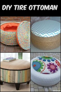 Turn old tires into beautiful ottomans! The only limit is your imagination. Turn old tires into beautiful ottomans! The only limit is your imagination. Tire Ottoman, Home Decor Dyi, Decor Ideas, Diy Furniture Couch, Recycled Furniture, Furniture Design, Rustic Furniture, Outdoor Furniture, Old Tires