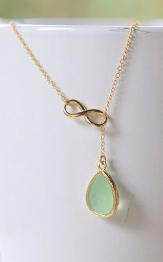 Mint Teardrop and Gold Infinity Lariat Necklace. -- needs to be in silver...