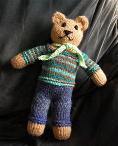 Mother Bear teddy #2 Teddy Bear Knitting Pattern, Knitted Teddy Bear, Baby Knitting, Knitting Patterns, Crochet Patterns, Knitted Dolls, Crochet Toys, Knit Crochet, Pet Toys