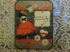 A2 Card using Diemond Dies Dress form die, Vintage buttons die, and Nesting Top Note set.  I also used Lawn Fawn stamp set.
