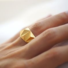 Geometric Prism Solid 3d Printed Ring Polished Gold by DaniMakes