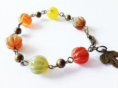 Gemstone Bracelet  Autumn Bracelet  Leaf Charm by MetalMomJewelry, $25.00