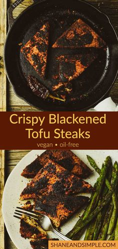 Vegan Crispy Blackened Tofu steaks are marinated in soy sauce, coated in a spicy blackened seasoning, and then cooked to perfection. They're hearty, delicious, and so easy to make! #VeganRecipes #plantbasedrecipes #easy Best Tofu Recipes, Vegan Dinner Recipes, Delicious Vegan Recipes, Vegan Dinners, Whole Food Recipes, Vegetarian Recipes, Simple Recipes, Diet Recipes, Vegetarische Rezepte
