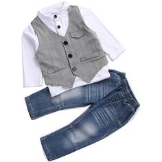 Kids Boys Clothing Sets Shirt and Vest Jeans Clothes Suit for 2 to 5... ($20) ❤ liked on Polyvore featuring baby boy