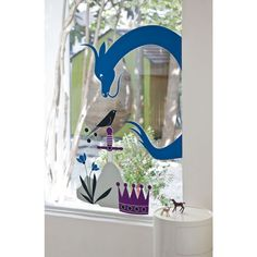 Wall decal - Blue Dragoon & bird : Poisson Bulle