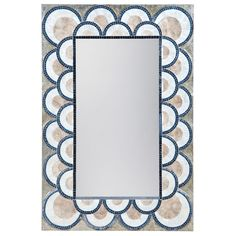 An art deco beauty, the ELK Lighting Art Deco Capiz Shell Mosaic Wall Mirror - x in. uses rich blue mosaic and natural shell in its. Mirror Mosaic, Mosaic Wall, Mosaic Glass, Stained Glass, Art Deco Spiegel, Art Deco Mirror, Large Candle Holders, Deco Blue, Blue Mosaic