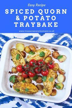 RECIPE: Spiced Quorn and Potato Traybake (with meat alternative) Easy Dinner Recipes, Summer Recipes, Great Recipes, Easy Meals, Quorn Chicken, Quorn Recipes, Caribbean Recipes, Yummy Food, Tasty