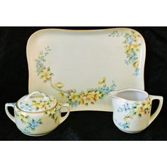 Antique Artist Signed Hand Painted Porcelain Tea Set Sugar Creamer Tray Set AK Limoges MZ Austria Flowers Floral Cottage Chic Home Decor ($129) found on Polyvore featuring home and home decor