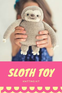 A quick and easy knit, this plush sloth toy comes with detailed instructions and photos to help you along the way. Makes an adorable gift for a child or new baby. #Ad #knitting #babysloth