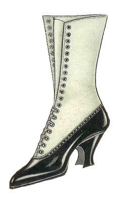 Antique Images: Free Shoe Clip Art: Vintage Graphic of Women's Shoe Fashion 1917 Victorian Shoes, Victorian Women, Mode Vintage, Vintage Shoes, Vintage Graphic, Clip Art Vintage, Vintage Paper, Fashion Shoes, Fashion Accessories