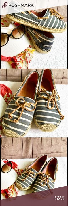 SPERRY BLUE&WHITE SHOES, SIZE 8.5 SPERRY Topsider blue and white striped boat shoe.  Fabric upper.  Good condition. Sperry Top-Sider Shoes Flats & Loafers