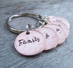 Lucky 6 Penny Key Chain Personalized Hand Stamped by AlwaysAMemory