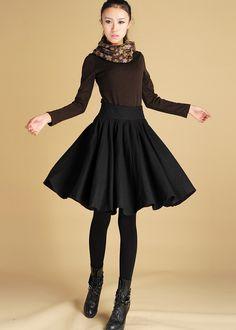 Wool Skirt, Womens Clothing,Black skirt, Midi Skirt, skirt with Pockets, Circle Skirt,Pleated skirt, knee length skirt,winter skirt,Gift 442 by xiaolizi on Etsy https://www.etsy.com/listing/35106215/wool-skirt-womens-clothingblack-skirt