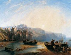 Robin Hood's Bay by John Wilson Carmichael At an early age, he was an apprentice ship builder, but then established himself as a maritime artist. He spent the last years of his life in lovely British Marine, Dunstanburgh Castle, York Art Gallery, York Museum, Robin Hoods Bay, John Wilson, Art Uk, Art For Art Sake, Old Pictures