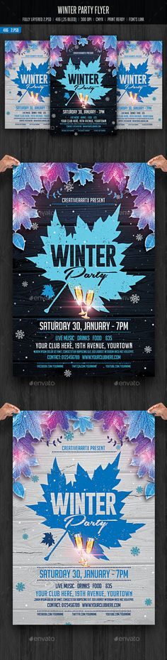 Winter Party Flyer Template PSD #design Download: http://graphicriver.net/item/winter-party-flyer/14279843?ref=ksioks