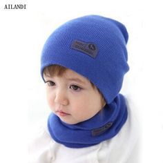 6aa3ed98bac 5 Color Casual Hedging Crochet Child Hat Warm Letter Knitted Kids Hats For  Unisex Solid Wool Baby Winter Caps + Scarf Suits