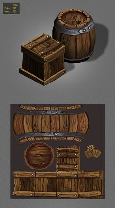 example of low poly barrel with textures http://3docean.net/item/wood-box-barrels-lowpoly_1/6437456