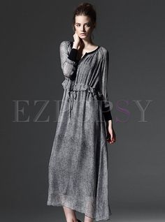 Shop for high quality Long Sleeve Drawstring Long Dress online at cheap prices and discover fashion at Ezpopsy.com