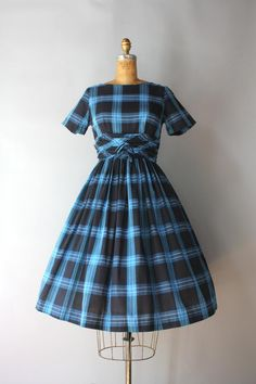 S shawl collar and full skirt 50s light BLUE WHITE check dress with double breasted front
