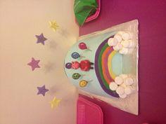 Piñata peppa pig rainbow kids birthday cake.