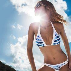 Summer Bikinis Set Blue White Striped Bikini Swimwear Bathing Suits