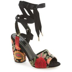 """Topshop 'Royal' Embroidered Lace-Up Sandal, 4"""" heel (115 AUD) ❤ liked on Polyvore featuring shoes, sandals, black multi, black high heel shoes, leather shoes, black lace up sandals, black sandals and black shoes"""