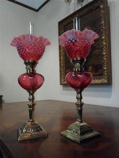 RARE PAIR OF ANTIQUE VICTORIAN(1870) VASELINE & CRANBERRY GLASS TABLE OIL LAMPS