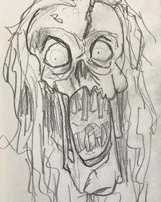 Enredando un rato con el #lapiz de #carbon. #pencil #charcoal #sketch #zombie
