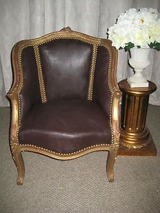 French Louis Style Faux Leather TUB Chair ARM Chair Sale   eBay