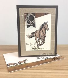 """Love this layout from I {heart} sketches. It matched beautifully with this horse stamp from the Stampin' Up! set called """"Let it Ride"""" Masculine Birthday Cards, Handmade Birthday Cards, Masculine Cards, Stampin Up Karten, Horse Cards, Horse Birthday, Dragon Crafts, Bird Cards, Stamping Up Cards"""