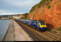 High quality photograph of Great Western Railway HST Class 43 # 43158 at Dawlish, United Kingdom. Electric Locomotive, Diesel Locomotive, Great Western, First Bus, Buses And Trains, British Rail, Power Cars, Model Train Layouts, Model Trains