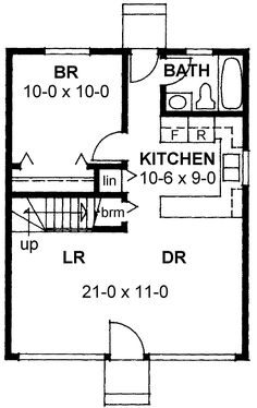First Floor Plan of Cabin   Contemporary   Narrow Lot   House Plan 99953