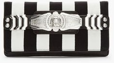 Balmain Black Striped Leather Medallion Bifold Clutch in Black | Lyst