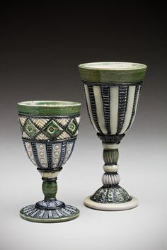 """Ceramic goblets are thrown in two parts at the wheel, carved, and decorated with slips. 8"""",   $65; 6"""", $50. These pieces are available now..."""