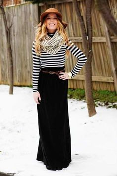 Black maxi skirt, stripy top, infinity scarf, hat