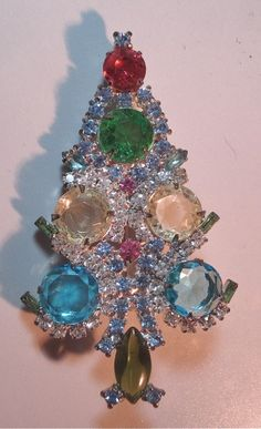 02037 Christmas Jewelry Xmas Tree Brooch Pin Rhinestones Open Backs Estate Vintage Costume Jewelry New Old Stock Very Good  Condition on Etsy, $52.00