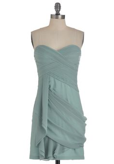 Wave to the Crowd Dress in Mint - Green, Solid, Pleats, Party, Mini, Strapless, Summer, Sheer